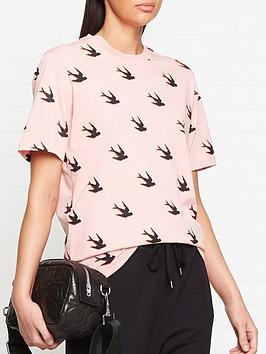 mcq-alexander-mcqueen-swallow-print-band-t-shirt-pink