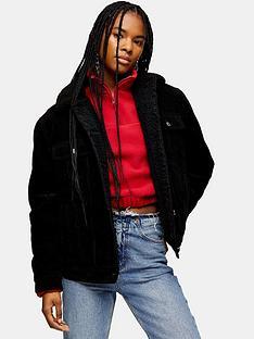 topshop-oversized-borg-jacket-black