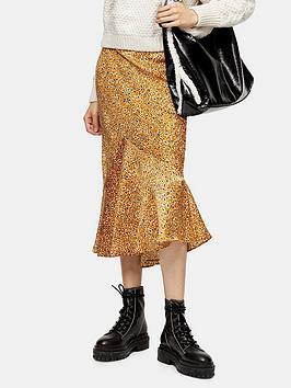 topshop-tall-leo-satin-flounce-midi-skirt-mustard