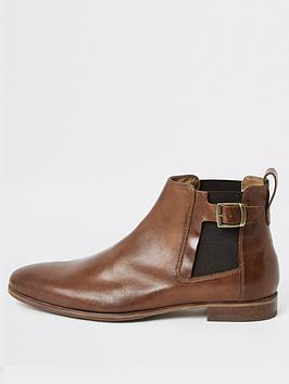 river-island-brown-leather-buckle-chelsea-boots