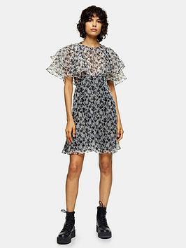 topshop-organza-floral-mini-dress-monochrome