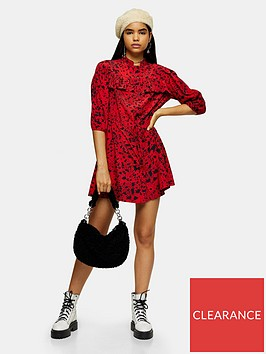 topshop-tiered-mini-shirt-dress-red