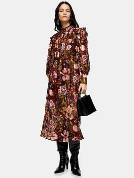 topshop-vintage-floral-midi-dress-brown
