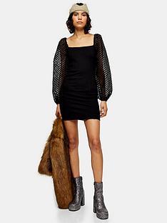 topshop-spot-sleeve-organza-mini-dress-black