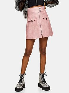 topshop-zip-through-pu-mini-skirt-pink