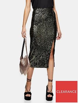 topshop-sequin-midi-skirt-khaki