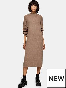 topshop-wool-mix-midi-dress-brown
