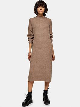 topshop-tall-wool-mix-dress-mink
