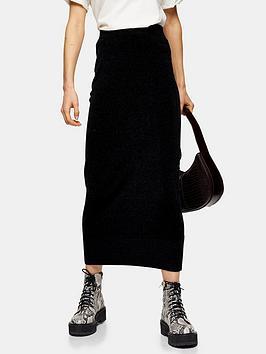 topshop-topshop-chenille-skirt-black