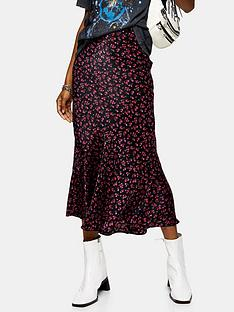 topshop-tall-black-ditsy-flounce-midi-skirt-black