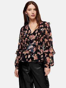 topshop-topshop-floral-ruffle-bed-jacket-blouse-multi