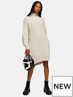 topshop-topshop-oversized-curved-hem-knitted-jumper-dress-brown