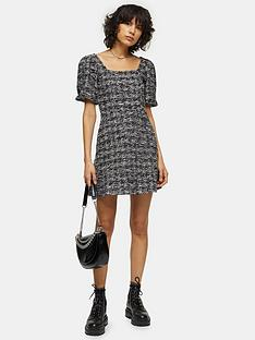 topshop-volume-sleeve-boucleacute-mini-dress-monochrome
