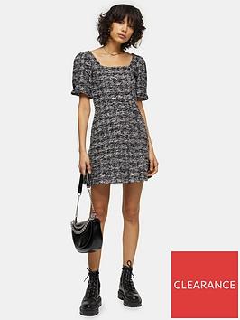 topshop-volume-sleeve-boucleacute-mini-dress-monochrome