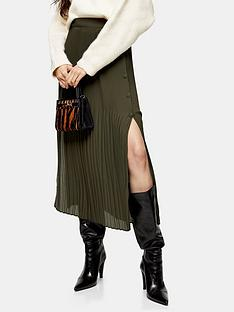 topshop-pleat-side-button-midi-skirt-khaki