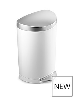 simplehuman-single-compartment-semi-round-10-litre-stainless-steel-pedal-bin-ndash-white