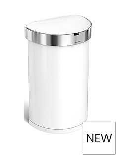 simplehuman-45-litre-single-compartment-stainless-steel-semi-round-sensor-bin-ndash-white