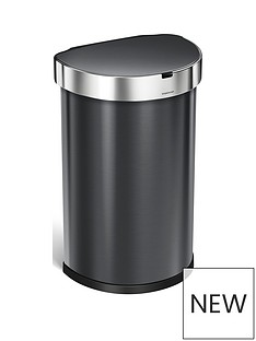 simplehuman-45-litre-single-compartment-stainless-steel-semi-round-sensor-bin-ndash-black
