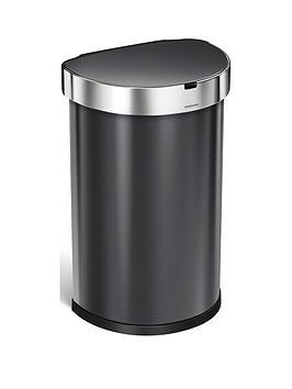 simplehuman-45-litre-single-compartment-stainless-steel-semi-round-sensor-bin-ndash-black