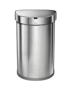 simplehuman-45-litre-single-compartment-semi-round-sensor-bin-ndash-brushed-stainless-steel
