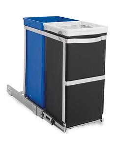 simplehuman-30l-dual-compartment-polished-heavy-duty-steel-frame-pull-out-bin