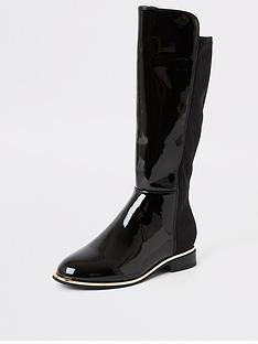 river-island-girls-patent-studded-knee-high-boot-black