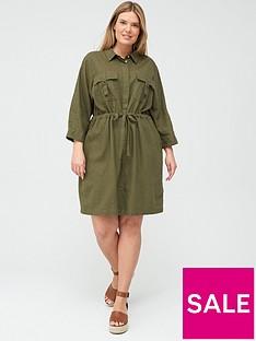 v-by-very-curve-linen-blend-utility-dress-khaki