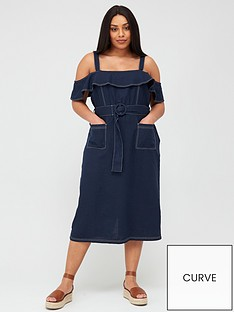 v-by-very-curve-linen-blend-contrast-stitch-belted-dress-navy