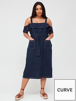 v-by-very-curve-linen-blend-contrast-stitch-belted-dress-navy