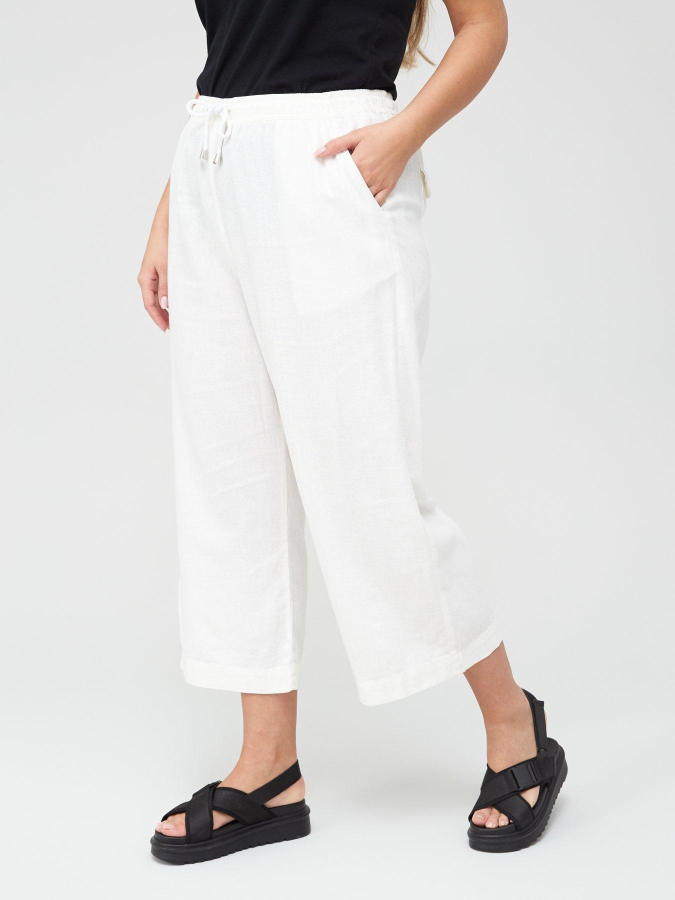 New Womens White Linen NEXT Maternity Crop Trousers Size 10 8