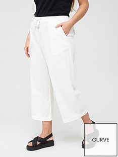 v-by-very-curve-linen-blend-crop-trouser-white