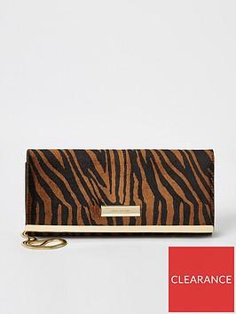 river-island-river-island-tiger-print-baguette-clutch-bag-brown
