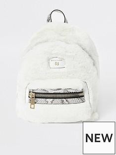 river-island-river-island-faux-fur-mini-backpack-cream