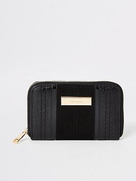 river-island-river-island-croc-embossed-zip-around-purse-black
