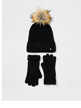 river-island-river-island-giftbox-twist-beanie-hat-and-gloves-black