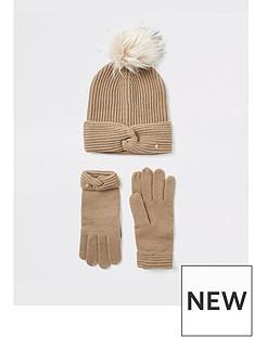 river-island-river-island-giftbox-twist-beanie-hat-and-gloves-beige