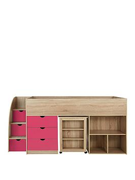 Product photograph showing Mico Mid Sleeper Bed With Pull-out Desk And Storage - Oak Effect Pink - Mid Sleeper Only