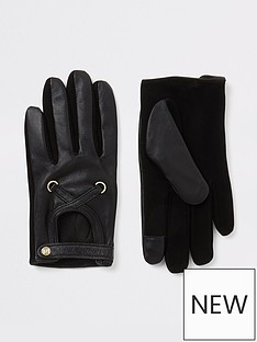 river-island-river-island-leather-cutout-gloves-black