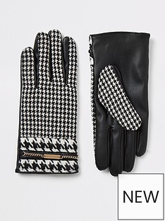 river-island-river-island-dogtooth-check-gloves-black