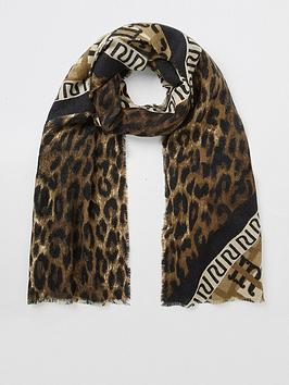 river-island-river-island-monogram-leopard-mix-scarf-brown