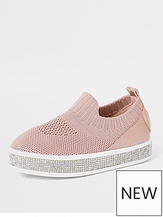 river-island-mini-mini-girls-diamante-knitted-trainers-pink