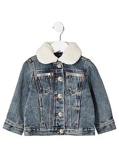 river-island-mini-mini-kids-borg-collar-denim-jacket-blue