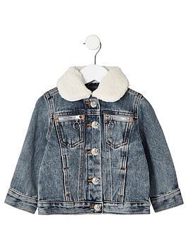 river-island-mini-mini-kids-borg-collar-denim-jacket-blue