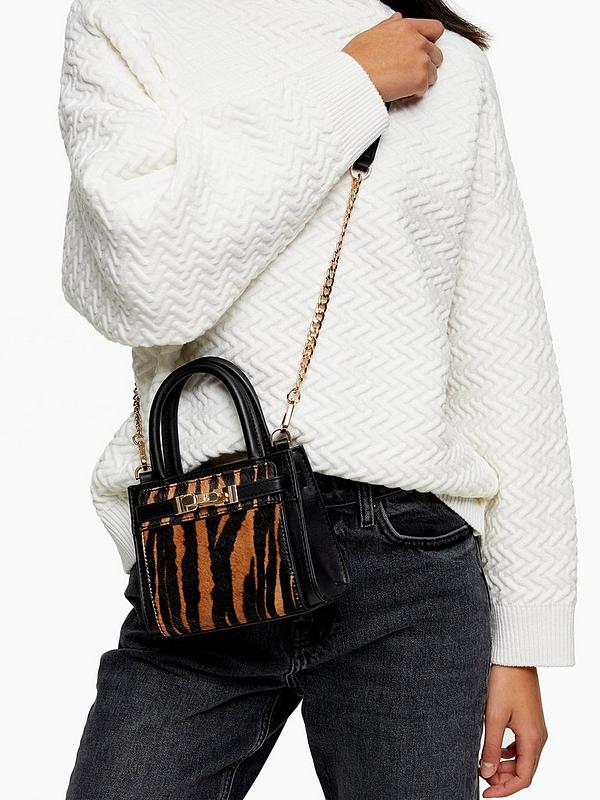 Printed Ponyskin Cross Body Bag Multi