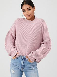 in-the-style-in-the-style-x-billie-faiers-balloon-sleeve-knit-jumper-pink