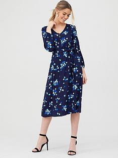 v-by-very-button-front-print-midi-dress-blue-floral