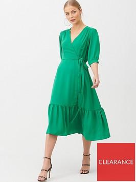 v-by-very-sofia-wrap-frill-hem-midi-dress-green