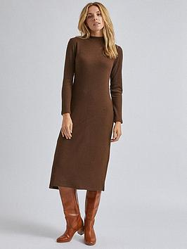 dorothy-perkins-high-neck-midi-dress-brown
