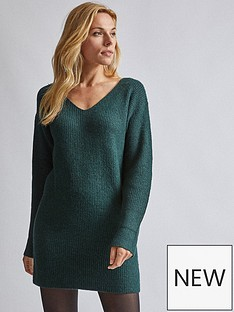 dorothy-perkins-dorothy-perkins-v-neck-tunic-jumper-green