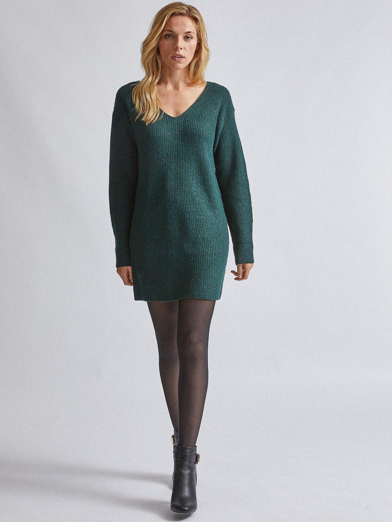 Dorothy Perkins Womens Green V-Neck Tunic Jumper